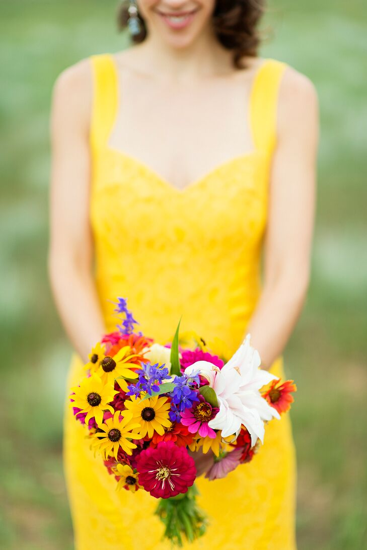 """""""We choose to grow our own wildflowers for the wedding in our front yard of our home,"""" Shauna says. """"I picked all the flowers in my bouquet the sunny morning before we drove up to the ranch."""""""