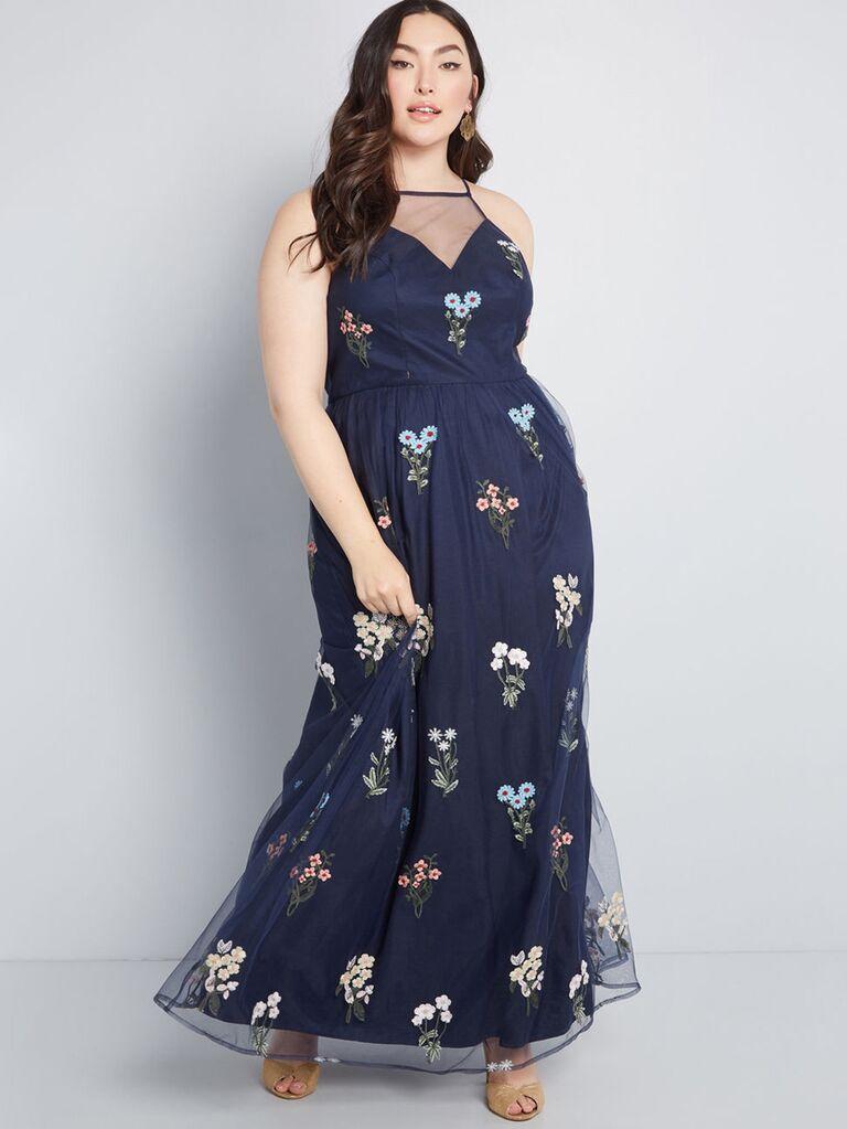 Navy plus size floral bridesmaid dress