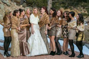 Glamorous Gold Personalized Bridesmaid Dresses