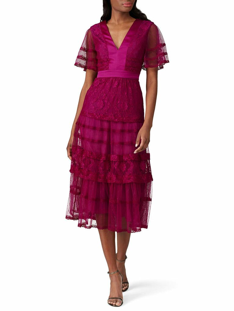 Maroon midi fall wedding guest dress with sheer sleeves and lace panels