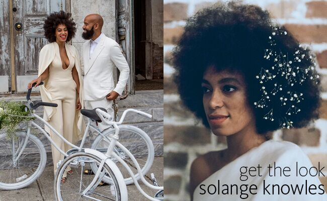 Solange poses on her wedding day in her bridal jumpsuit