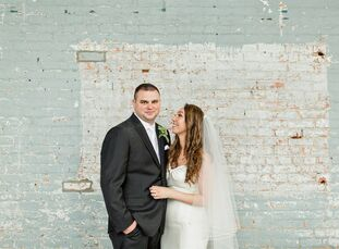 """Christina Sanabria and Stephen Groene had a classic, industrial wedding at Basilica Hudson. """"I envisioned a French farmhouse look—not too rustic but s"""
