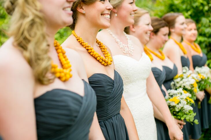 Bridesmaids in Gray and Yellow
