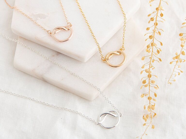 Elegant knot necklaces for bridal party