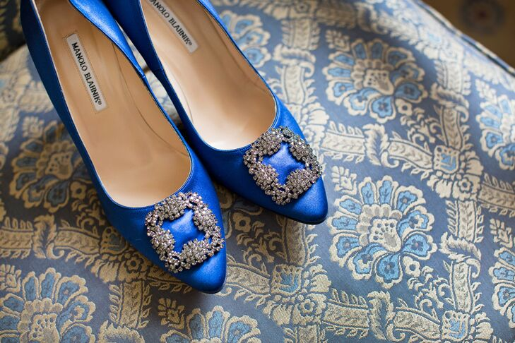 """""""My shoes were probably my favorite accessory (and my something blue), besides the gorgeous jewelry David gave me that day,"""" says Gabriela. rn"""