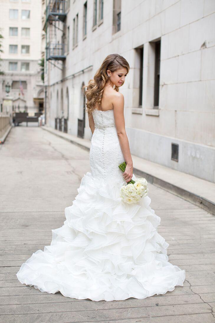 Bride Wearing Ivory Pronovias Wedding Dress