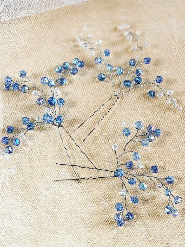 Blue bobby pins