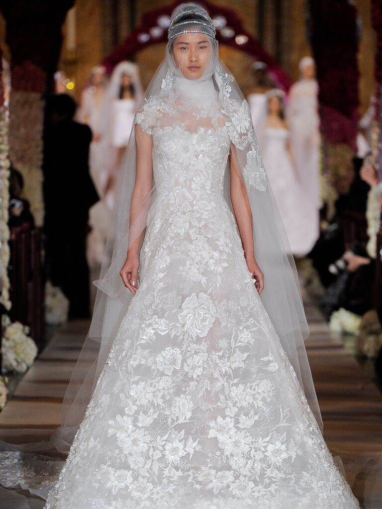 Reem Acra Spring 2020 Bridal Collection floral lace trumpeted wedding dress