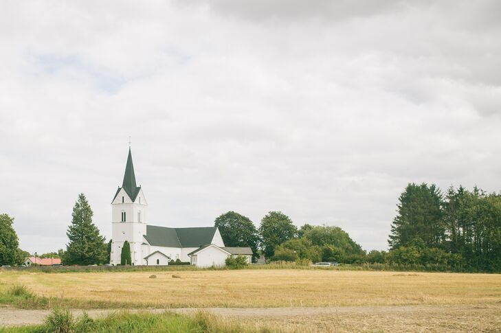Ulrika and Victor exchanged vows in south Sweden close to Ulrika's family's country home. Wanting a traditional Catholic ceremony, they chose St. Anna Church in Lyby, Sweden, for their ceremony. They loved the old whitewashed church on the countryside.