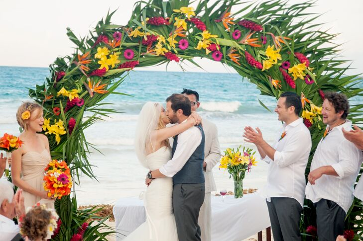 Tropical Palm and Birds of Paradise Wedding Arch
