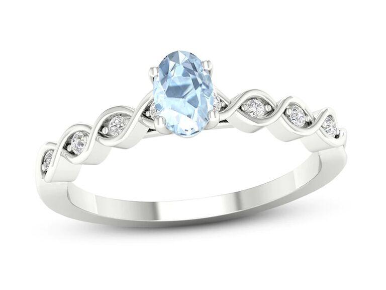 jared aquamarine engagement ring with diamonds and twisted white gold band