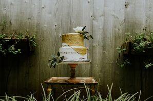 Gold Fondant Round Wedding Cake