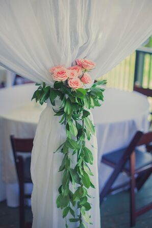 Rose Garland Tied on Drapery