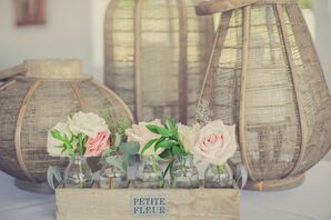 Pink and Ivory Rose Rustic Arrangment