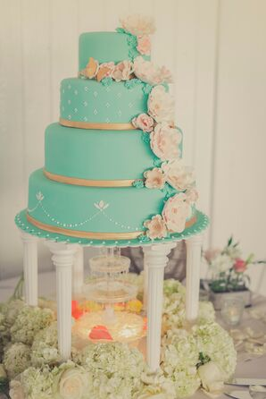 Blue Cake with Gold and Flowers