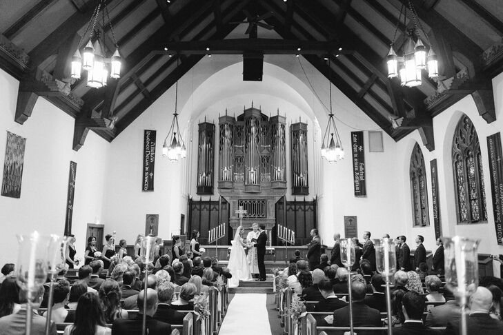 Katie and Nick had their ceremony at the Lake of the Isles Lutheran Church, which sat on the edge of the Lake of Isles near where the couple went on their second date. They took time to honor each of their parents with a rose, and exchanged their own personal vows.
