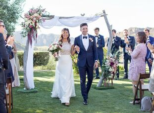 """Sarah Budhiman and Dylan Hooe had a """"coastal, laid-back wedding"""" that reflected the life they've built on the West Coast. """"I guess you could say the i"""