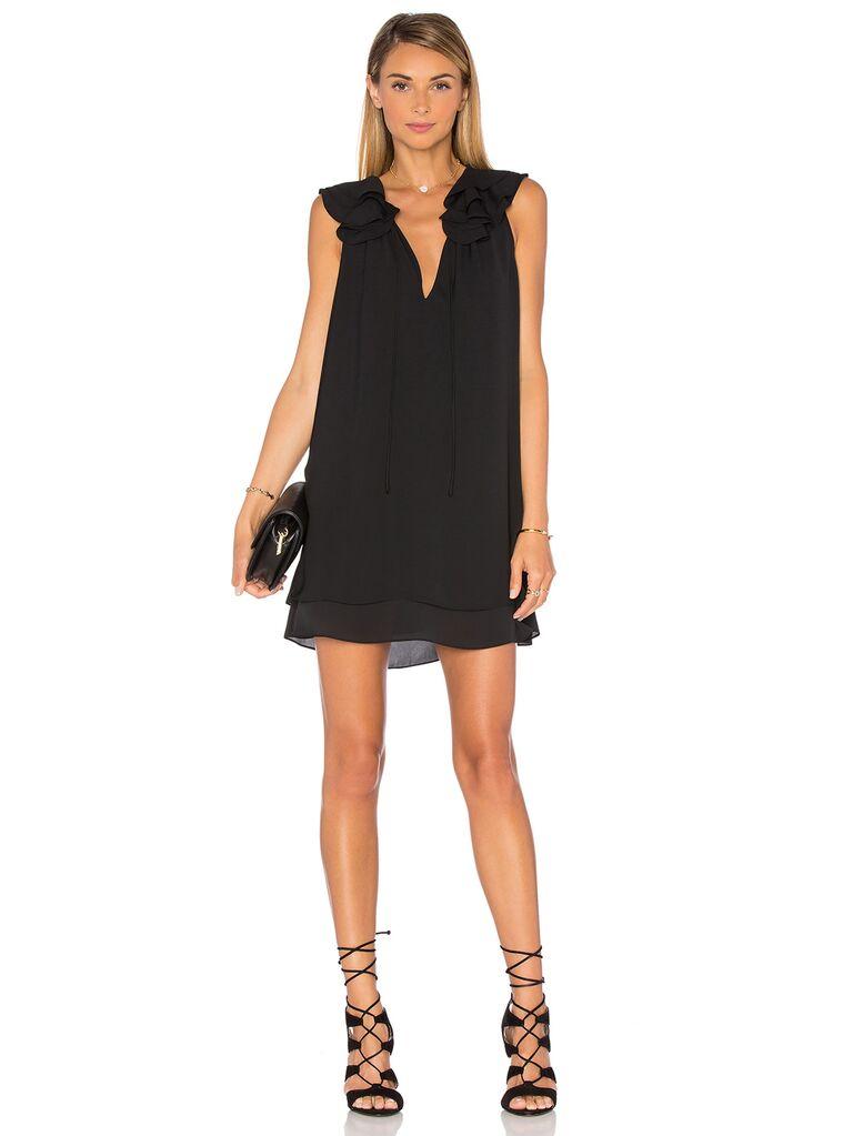 Black V-neck mini dress with ruffle sleeves