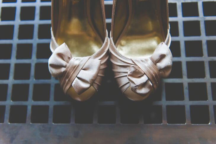 Champagne Satin Heels With Bow