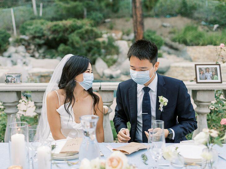 Couple Wearing Masks During Backyard Wedding