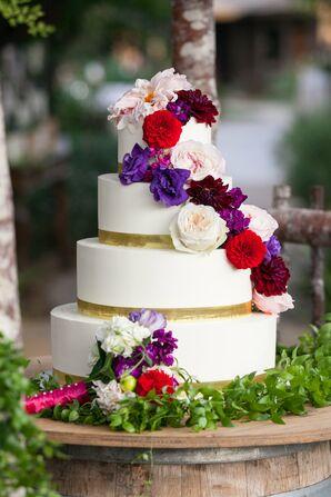 Vibrant Flower-Topped Wedding Cake