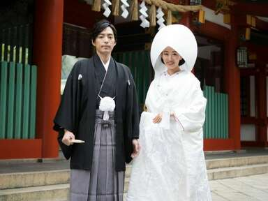 Couple in traditional Japanese wedding attire