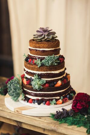 Wintry Naked Cake with Succulents at Terrain at Styers in Glen Mills, Pennsylvania
