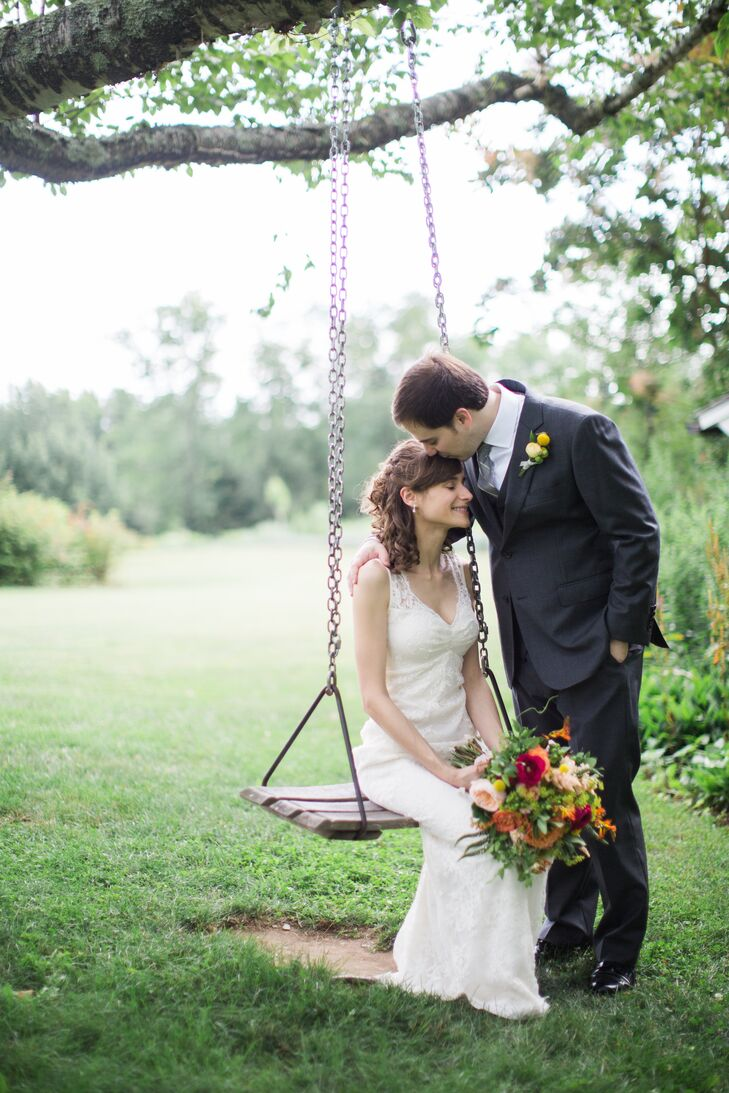 """Adam had Alton Lane create a custom three-piece suit in charcoal gray wool for his walk down the aisle, along with a custom-made button-down shirt. """"There's always so much hype surrounding the bride's dress, so we thought it would be fun to do something special for the groom,"""" Arianne says. """"He never had a suit custom-made for him before, and the design process was quite fun."""""""