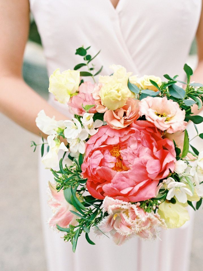 Bouquet with coral charm peony