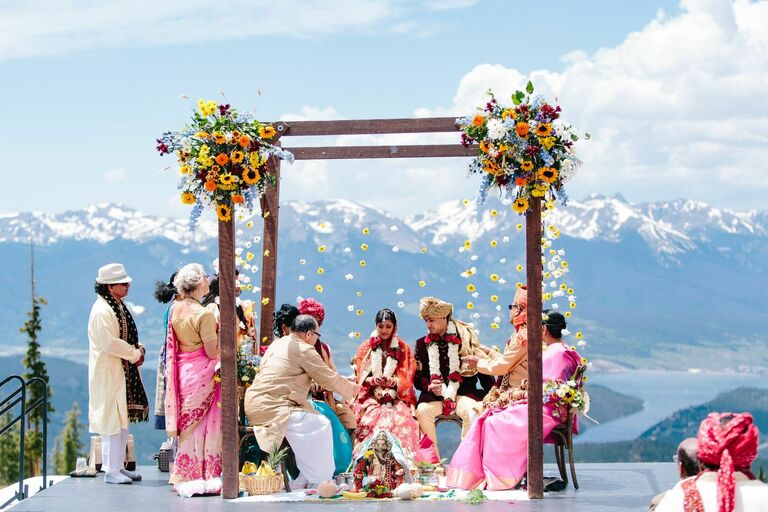 Sunflower-clad mandap for Indian wedding in the mountains