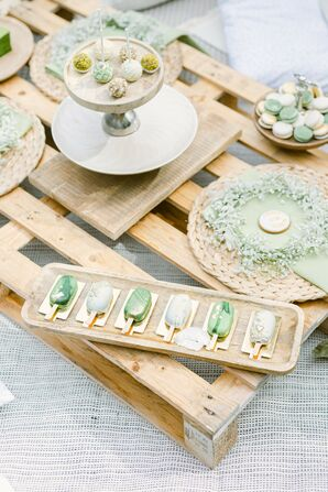 Pale Green Cake Pops for Dessert at Wedding at Savoia Castle in Prague, Czech Republic
