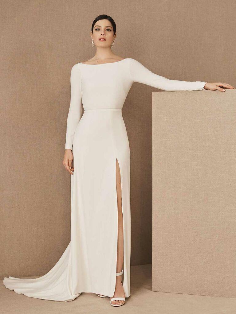 Simple long sleeve wedding dress with slim skirt and slit
