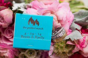 Weddings Rings, Blue Matchbook Wedding Favor