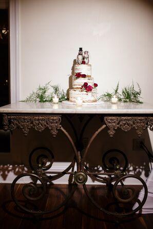 Whimsical Three-Tier Naked Wedding Cake