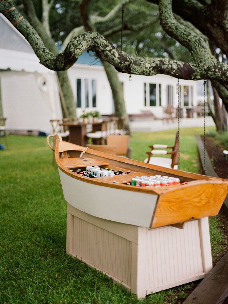 friends themed wedding boat bar