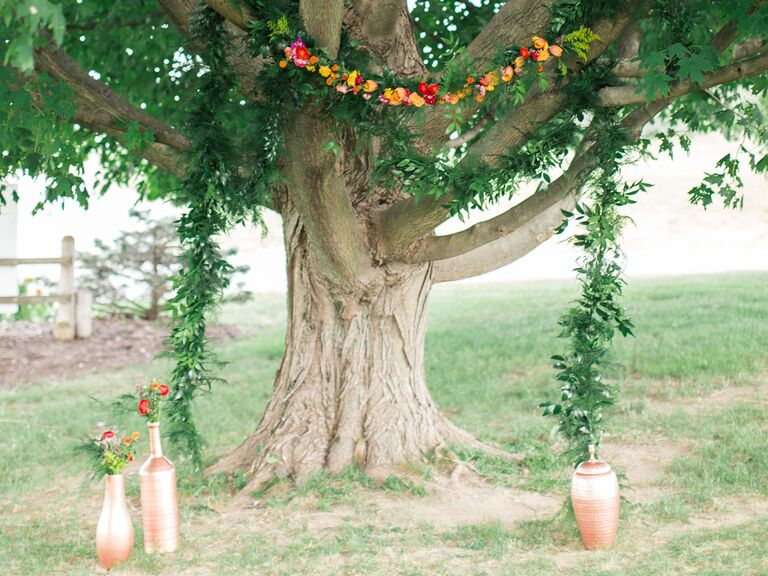 draped garland wedding ceremony backdrop