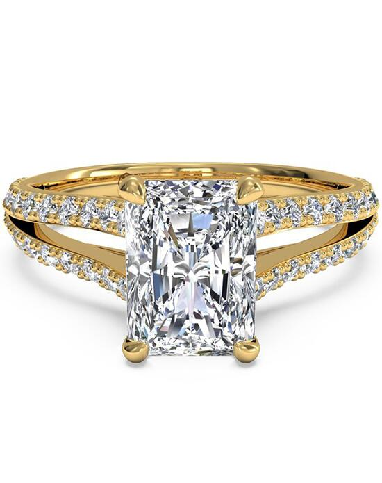 Ritani Double French-Set Diamond 'V' Engagement Ring with Surprise Diamonds - in 18kt Yellow Gold (0.24 CTW) for a Radiant Center Stone Engagement Ring photo