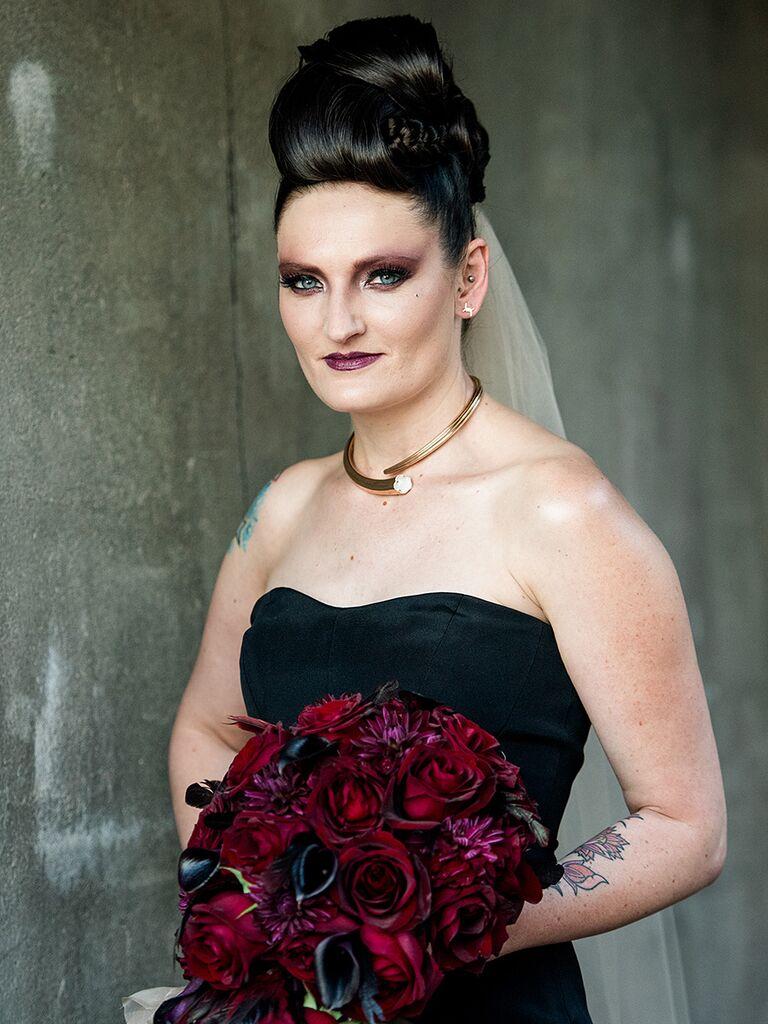 bold makeup for bride wearing dark dress