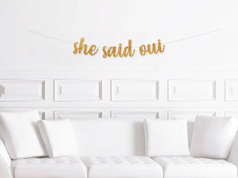 etsy she said oui gold banner for paris themed bridal shower
