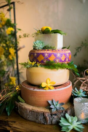 Eclectic Tiered Cheese Cake with Succulents