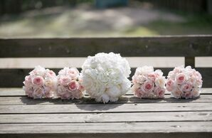 White Peony Bridal Bouquet and Blush Roses
