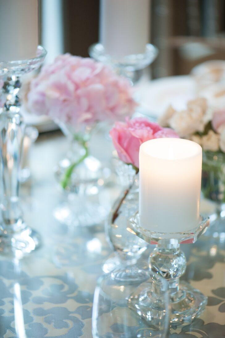 """""""I did not want a large flower display, but more as an accent piece to the tables and decor,"""" Kristine says."""