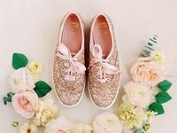 Sparkly wedding sneakers in rose gold