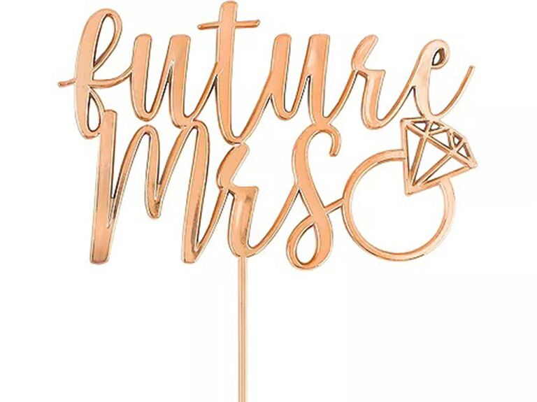 'future mrs' in modern rose gold script with wedding ring