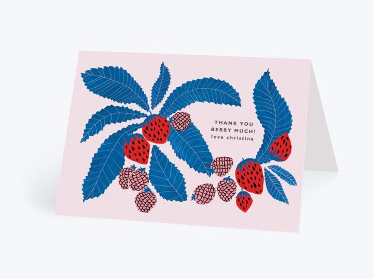 Thank You Berry Much playful wedding shower thank-you card