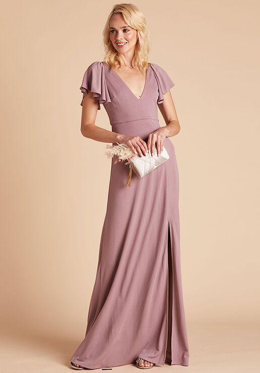 Birdy Grey Hannah Crepe Dress in Dark Mauve V-Neck Bridesmaid Dress
