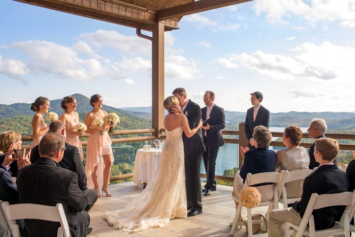 Ceremony chairs were set up at an angle on the porch for the perfect view of the lake.