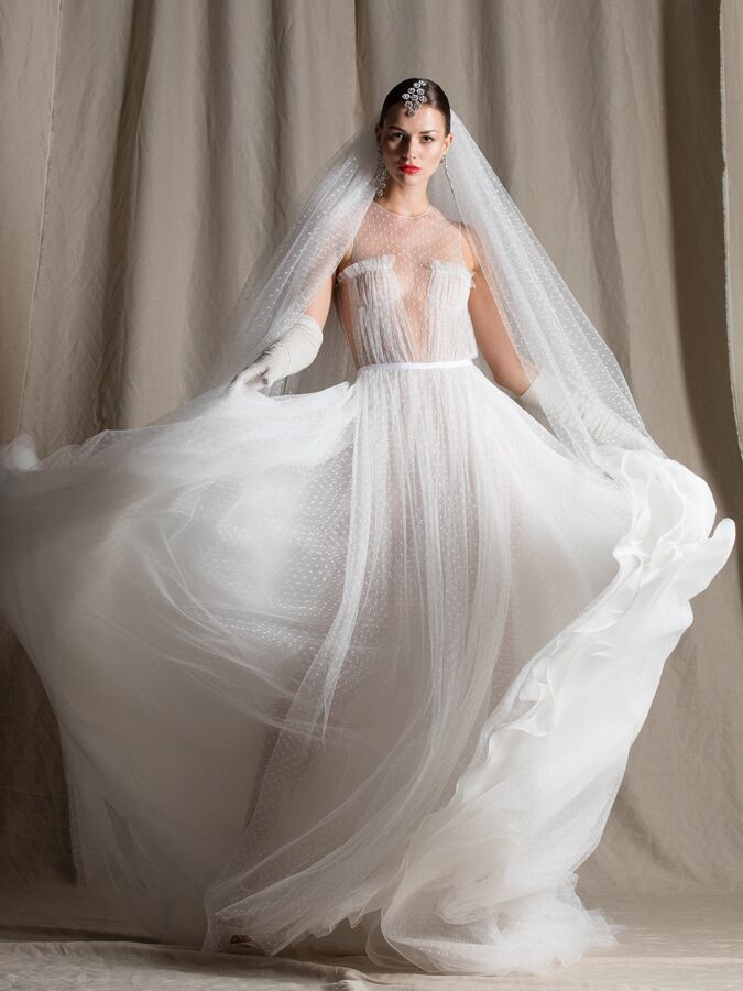 Naeem Khan A-line tulle wedding dress