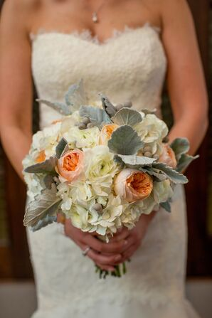 Peach and Ivory Bouquet with Garden Roses and Hydrangea