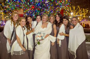 Taupe Bridesmaid Dresses with Cream Wraps